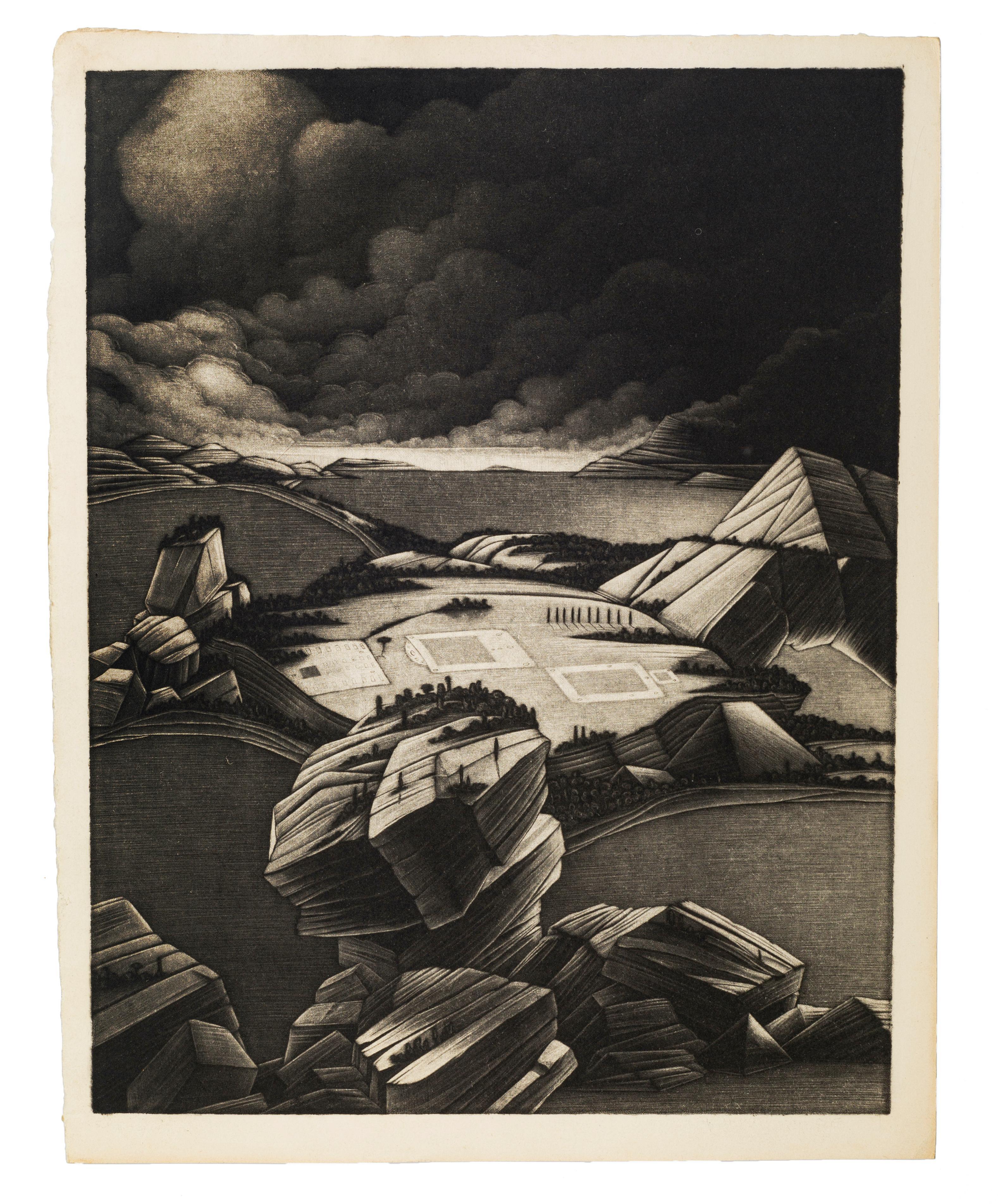 Desolate Landscape - Original Mezzotint by Michel Estèbe - Late 1900