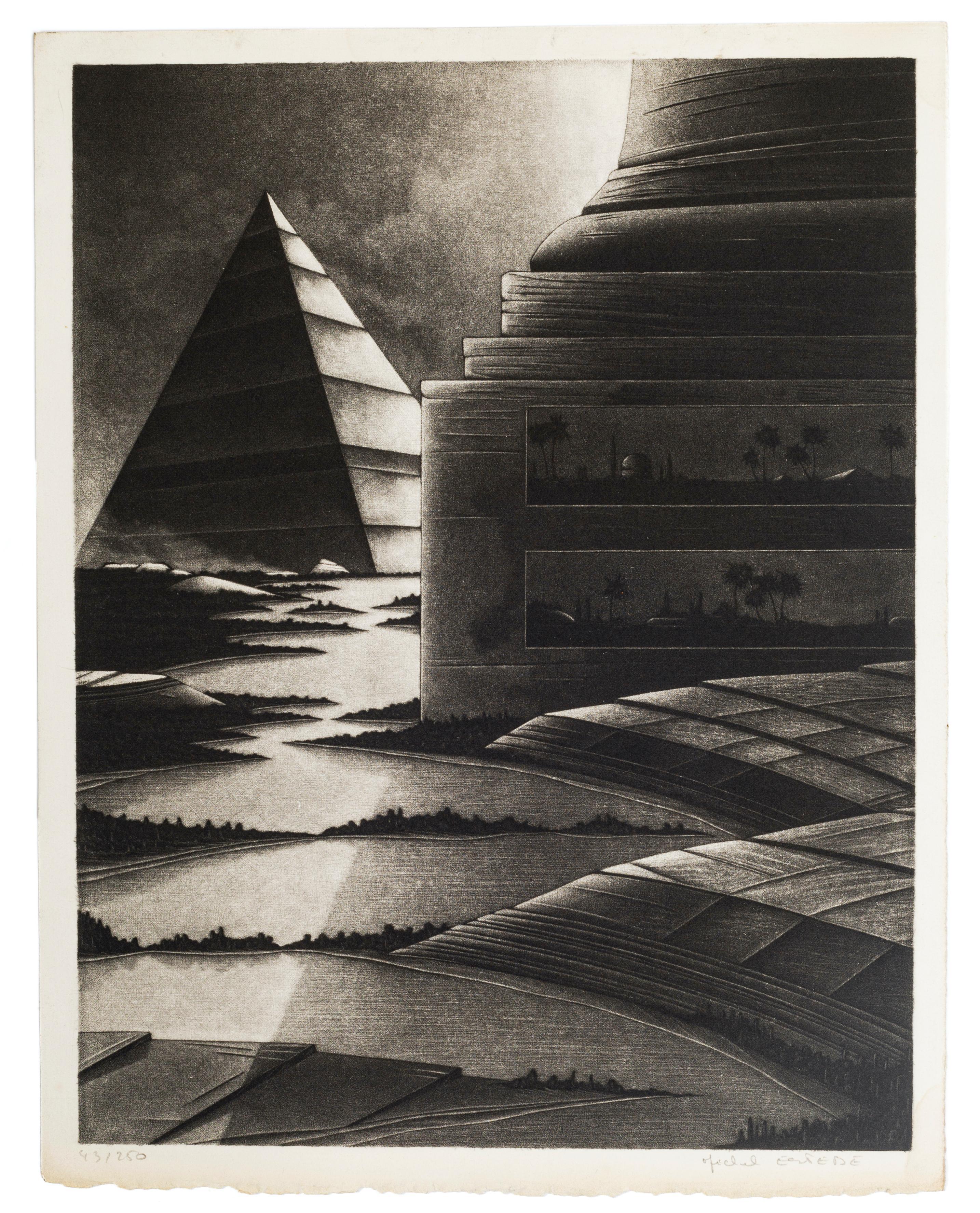 Egyptian Lanscape - Original Mezzotint by Michel Estèbe - Late 1900