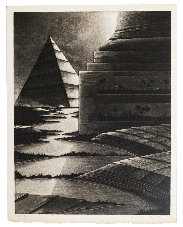 Michel Estebe Figurative Print - Egyptian Lanscape - Original Mezzotint by Michel Estèbe - Late 1900