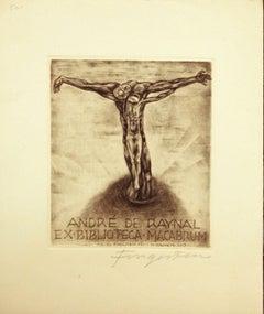 André De Raynal / Ex Biblioteca Macabrum - Etching by M. Fingesten - 1937