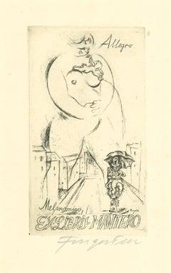 Ex Libris Allegro Melanconico - Original Etching by M. Fingesten - 1930s