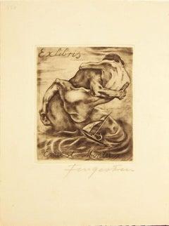 Ex Libris Ernest Monteux - Etching by M. Fingesten - 1930s