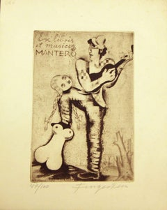 Ex Libris et Musicis Mantero - Original Etching by M. Fingesten - Early 1900