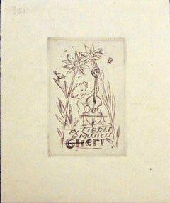 Ex Libris et Musicis - Original Etching by M. Fingesten - Early 1900