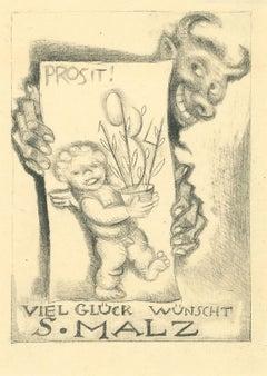 Ex Libris Good Luck - Original Etching by M. Fingesten - 1930s