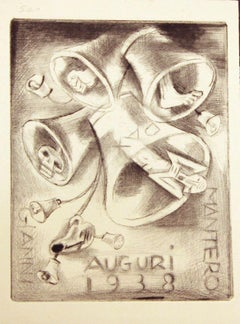 Ex Libris Happy New Year 1938 - Original Etching by M. Fingesten