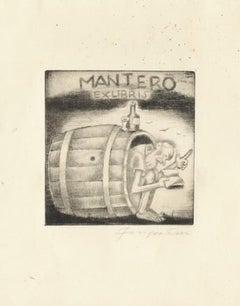 Ex Libris Mantero - Original Etching by M. Fingesten - 1930s