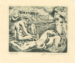 Ex Libris - Mantero - Original Etching by M. Fingesten - 1930s
