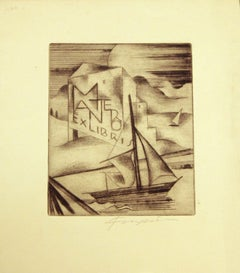 Ex Libris Mantero - Original Etching by M. Fingesten - Early 1900