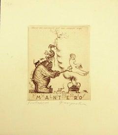 Ex Libris Mantero - Original Etching by M. Fingesten - Early 1938