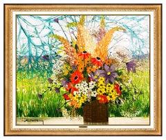 Michel Henry Large Original Painting Oil On Canvas Flowers Landscape Signed Art