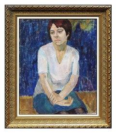 Michel Kikoine Original Oil Painting On Canvas Female Portrait Signed Artwork