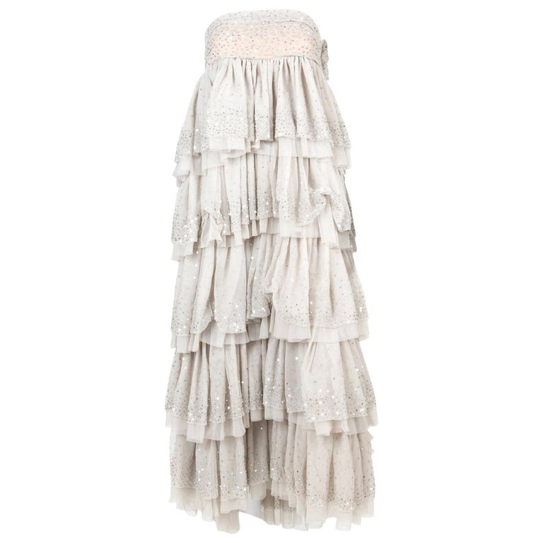 "Michel Klein ""Cher"" Off White Evening Dress For Sale"