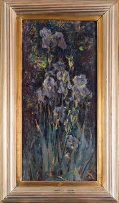 Russian original early 20th Century oil painting of irises 'Iris Mauves'