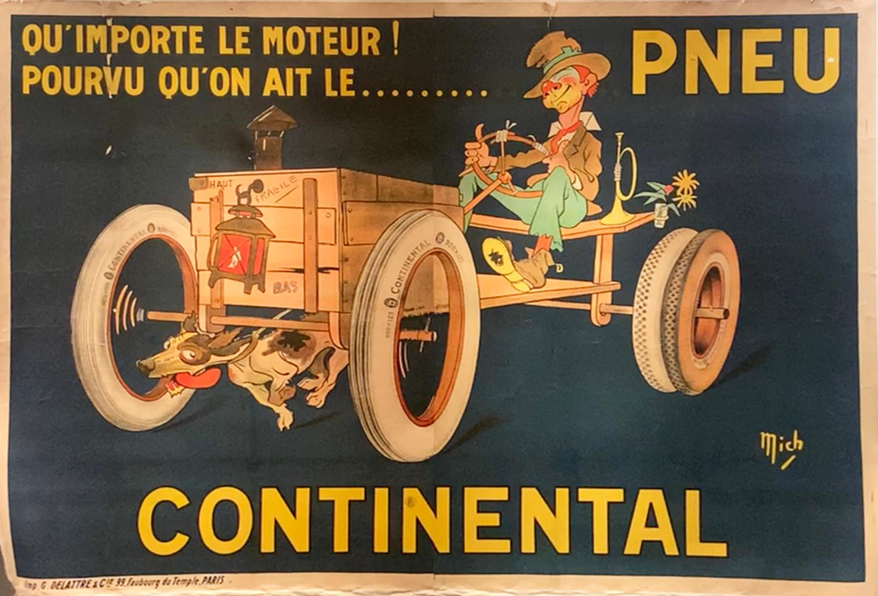 "Original Antique French Poster, ""Pneu Continental"", Mich Michel Liebeaux, Litho"
