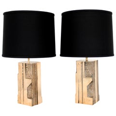 Michel Mangematin Cast Bronze Sculptural Pair of French Table Lamps, circa 1970