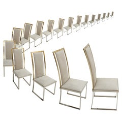 Michel Mangematin Mid-Century Modern Sixteen Steel and Brass French Chairs, Set