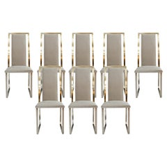 Michel Mangematin Midcentury Set of Eight Steel and Brass French Chairs