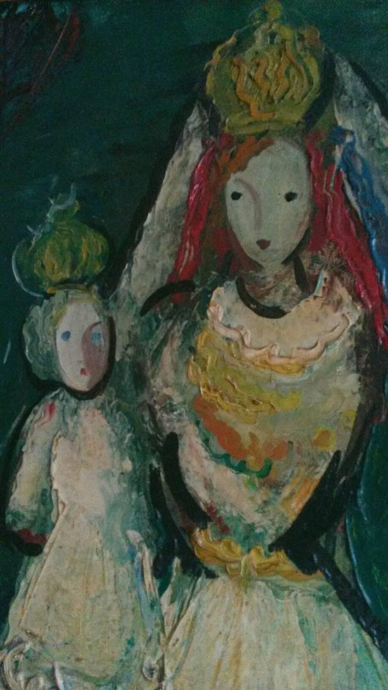 By French famous Transgender artist,  Michel Marie Poulain (Born Paris December 5, 1906. Died  1991) this rare oil on canvas   it represents the Queen and her child in a style of some of   Marc Chagall's work. The painting is in excellent condition,