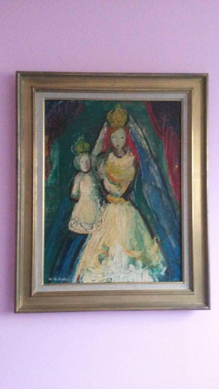 Michel-Marie Poulain Figurative Painting - The Queen , 1947, by French Transgender Artist JM Poulain