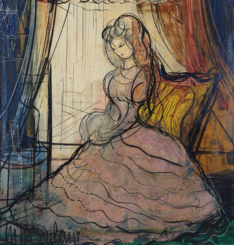 Young Girl Before the Prom - Original Oil on Canvas, Signed - Gray Interior Painting by Michel-Marie Poulain