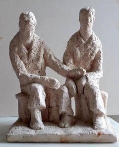 Friendship, comfort: hand modelled sculpture by Polish Jewish French artist