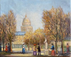 Beautiful Parisian Park Scene Fashionable Figures