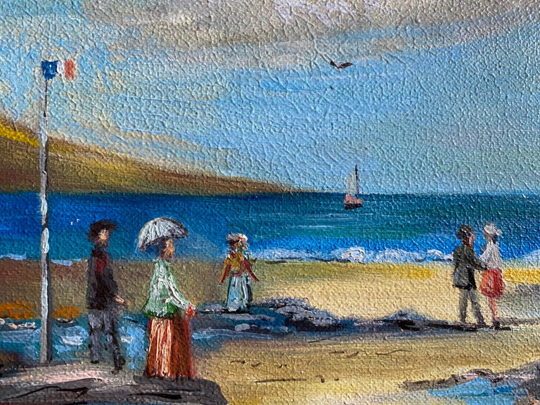 Elegant Figures Enjoying A Day At A French Beach - Painting by Michel Pabois