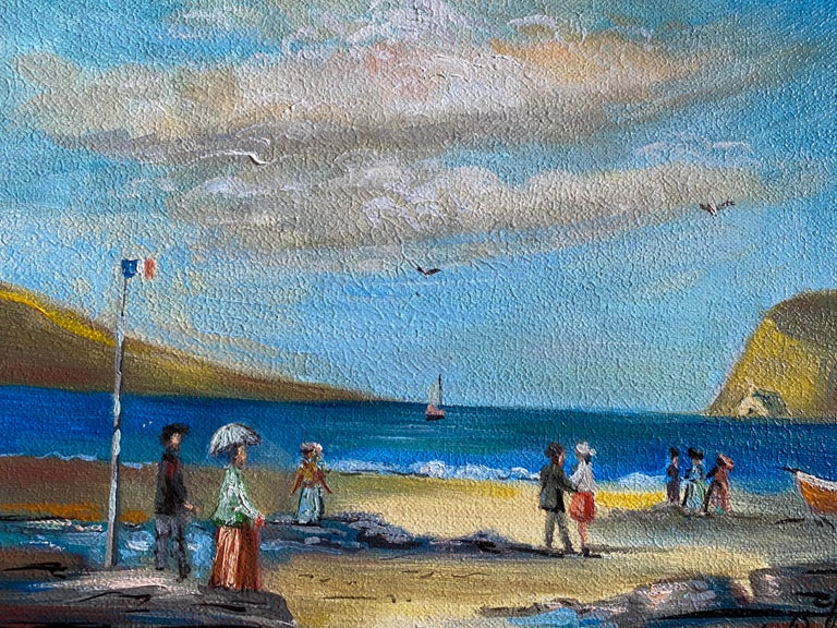 Elegant Figures Enjoying A Day At A French Beach - Impressionist Painting by Michel Pabois