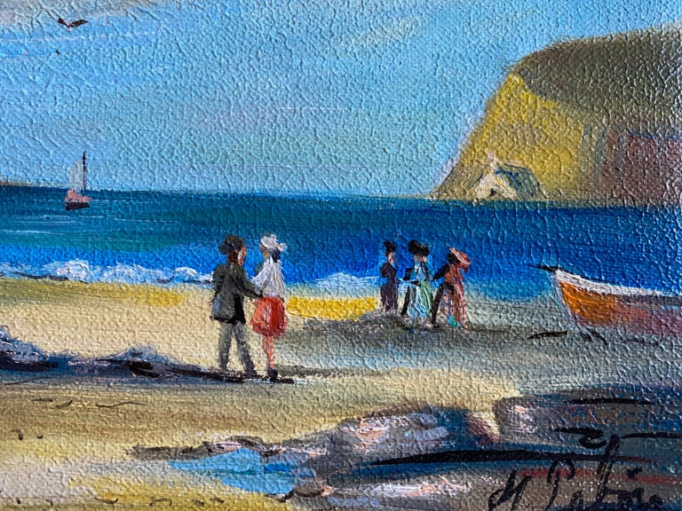 Elegant Figures Enjoying A Day At A French Beach - Gray Figurative Painting by Michel Pabois