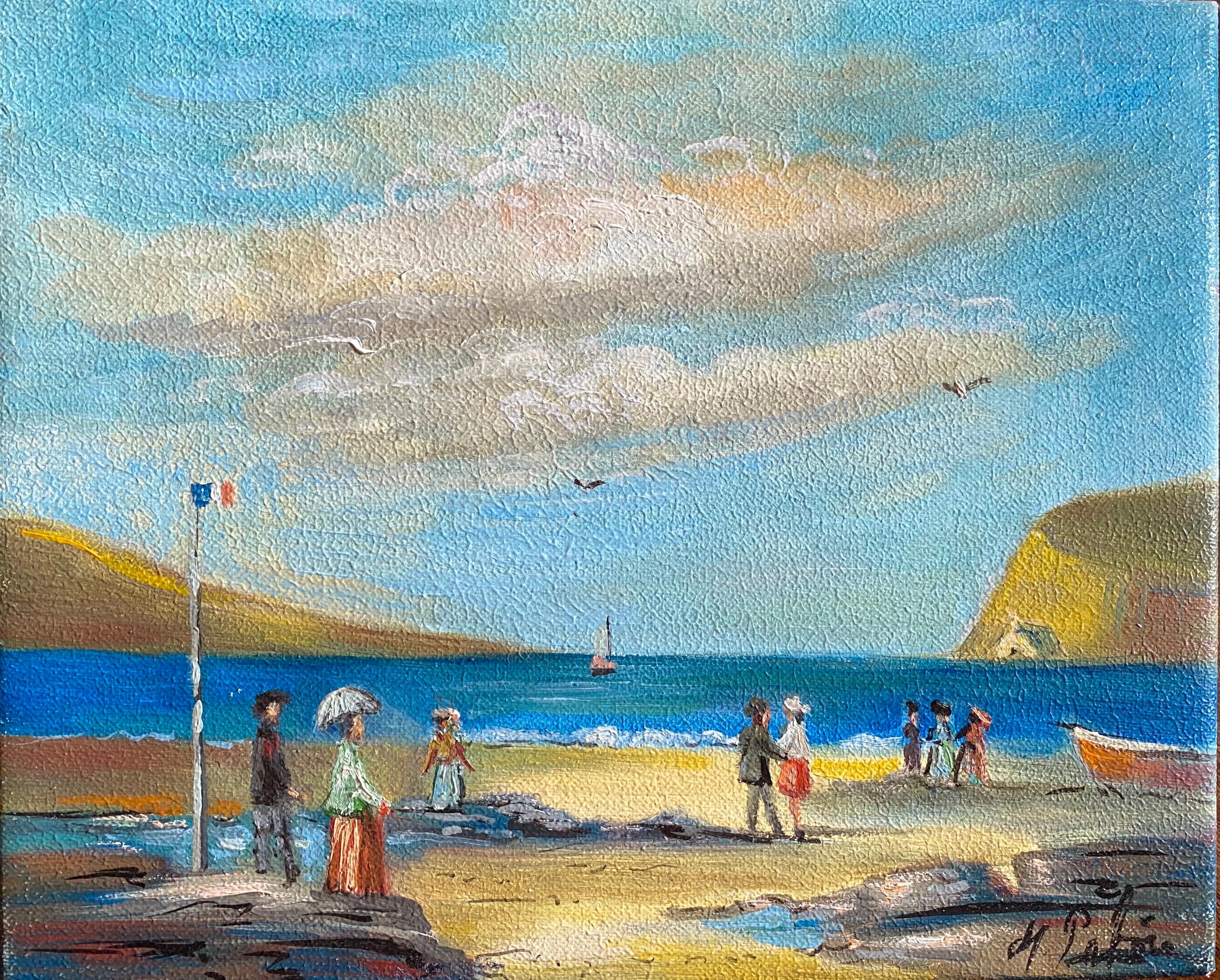 Elegant Figures Enjoying A Day At A French Beach