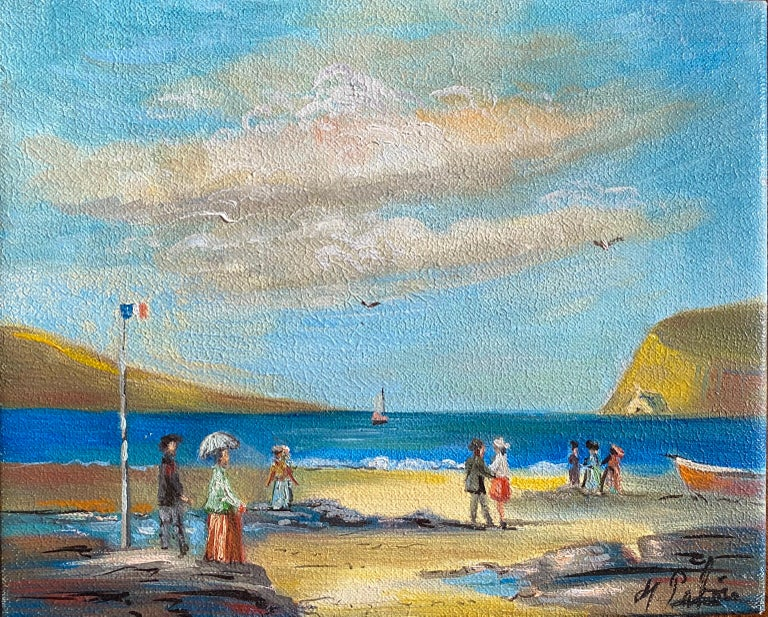 Michel Pabois Figurative Painting - Elegant Figures Enjoying A Day At A French Beach