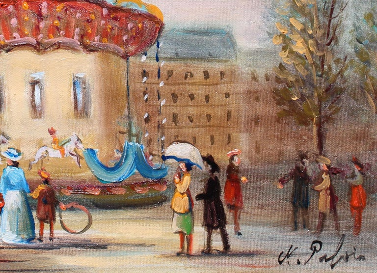 Le Manege, The carousel. - Painting by Michel Pabois