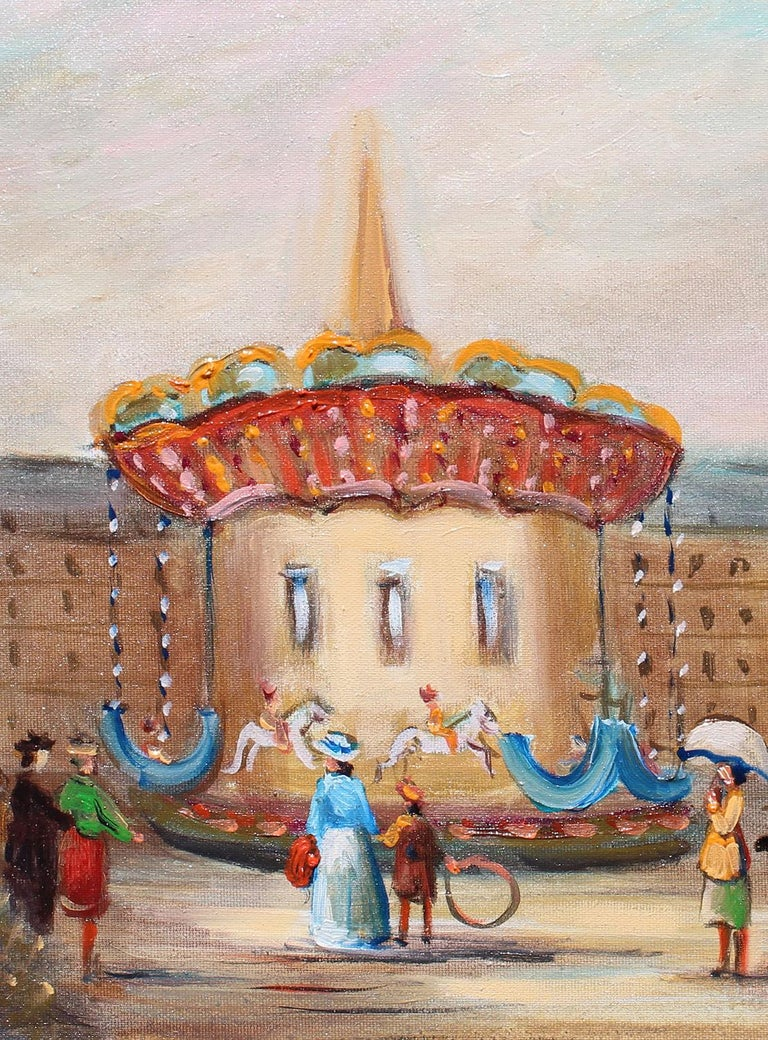 Le Manege, The carousel. - Impressionist Painting by Michel Pabois