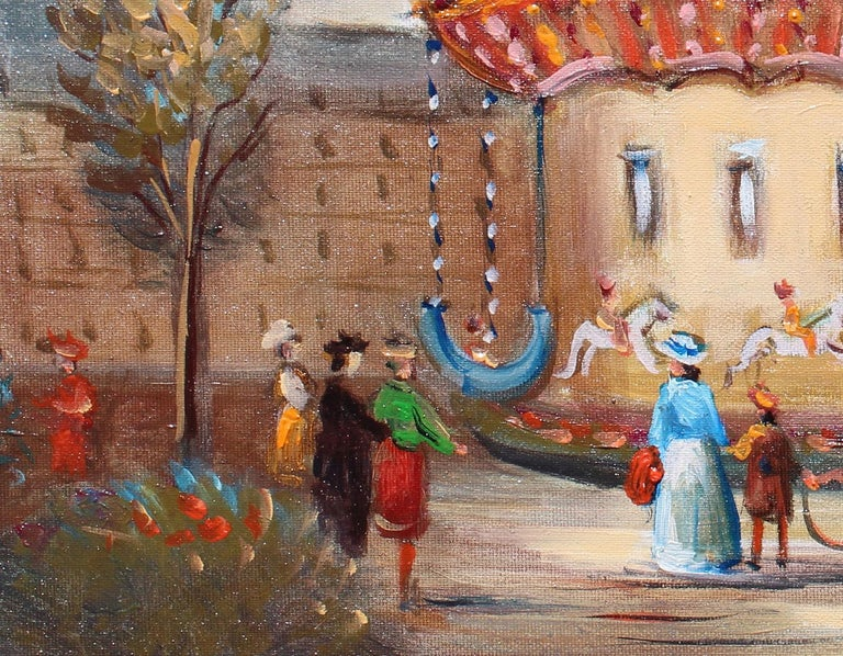 Le Manege, The carousel. - Beige Landscape Painting by Michel Pabois
