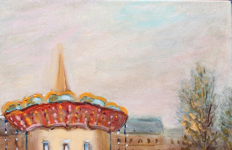 Le Manége (The Carousel) oil painting by Michel Pabois.  Artwork size 8.75x10.75 in. Oil on canvas. Complimentary custom framing will be done upon customer request. A cheerful scene that will take you back to your favorite childhood carousel. This