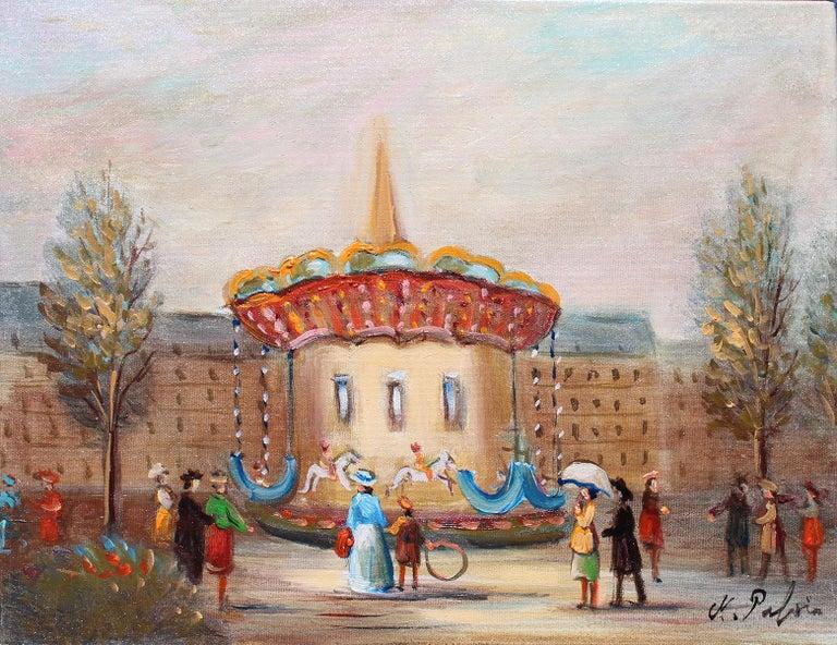 Michel Pabois Landscape Painting -  Le Manege, The carousel.