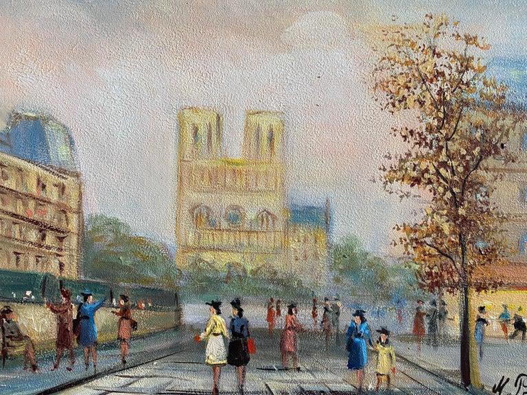 Notre Dame Paris Fashionable Figures Colourful Clothing  - Painting by Michel Pabois