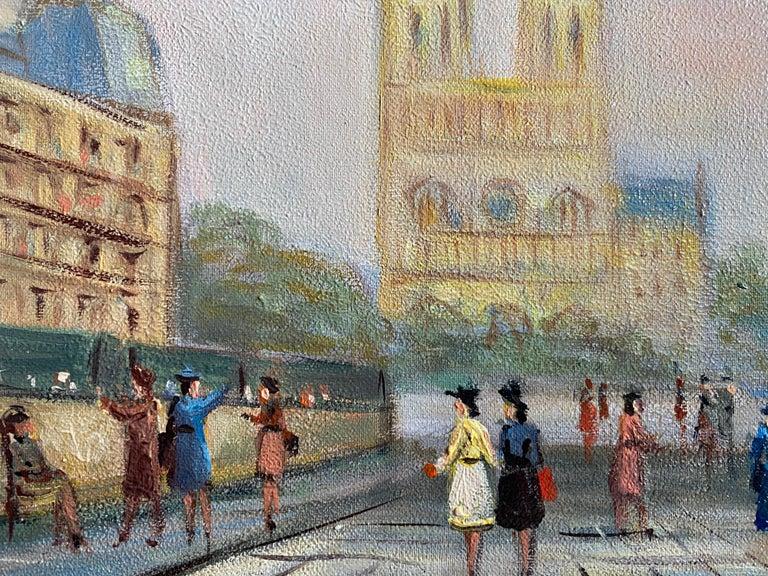 Notre Dame Paris Fashionable Figures Colourful Clothing  - Impressionist Painting by Michel Pabois