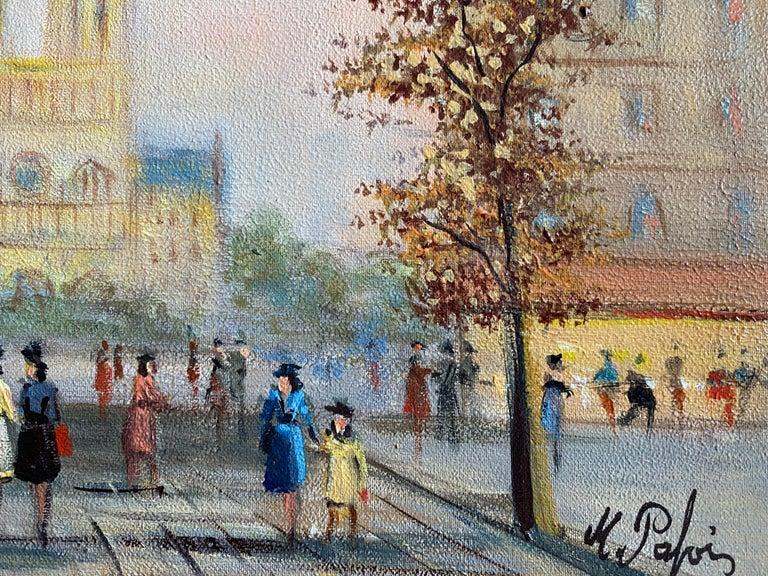 Notre Dame Paris Fashionable Figures Colourful Clothing  - Gray Landscape Painting by Michel Pabois
