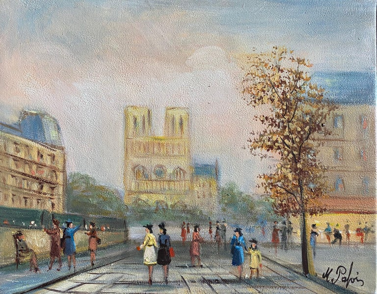 Michel Pabois Landscape Painting - Notre Dame Paris Fashionable Figures Colourful Clothing