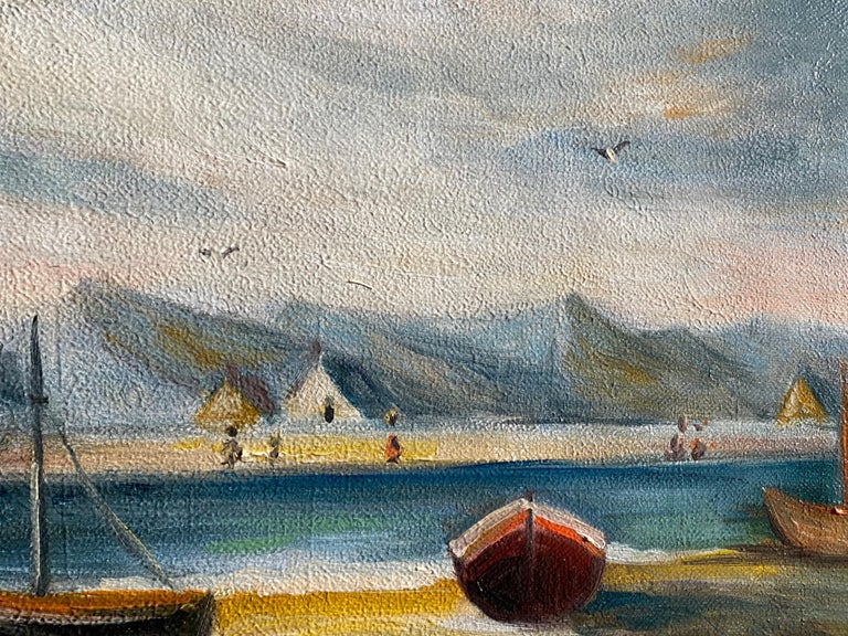 Peaceful Boat Scene In France - Painting by Michel Pabois