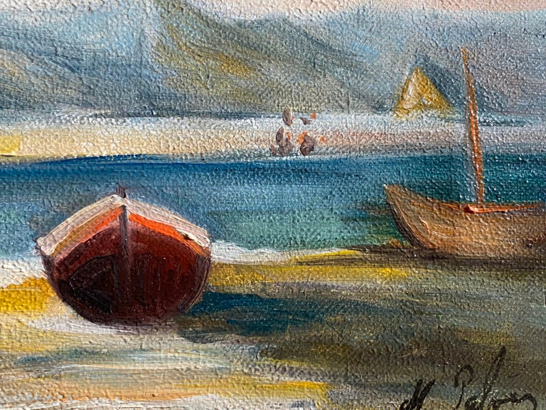 Peaceful Boat Scene In France - Impressionist Painting by Michel Pabois