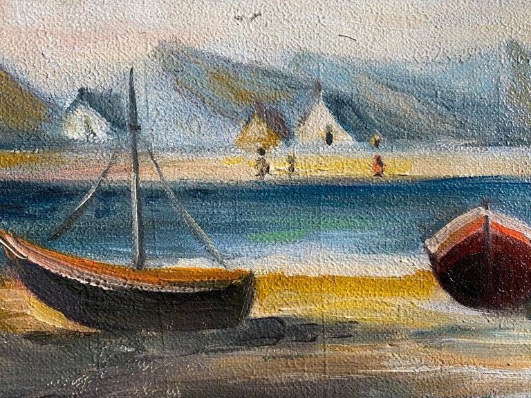Peaceful Boat Scene In France - Gray Figurative Painting by Michel Pabois