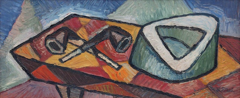 An original interior Still Life painting with two tobacco pipes by twentieth century french modernist, Michel Patrix (1917-1973).  Presented in a custom frame, outer dimensions measure 12 ¾ x 24 ¾ x ¾.  Image size is 9 x 21½