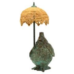 Michel Rico Hen Bronze Table Lamp Sculpture 1/8, 1997