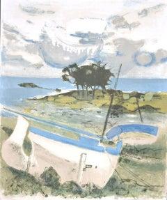 Landscape - Original Lithograph on Paper by Michel Rodde - 1960 ca.