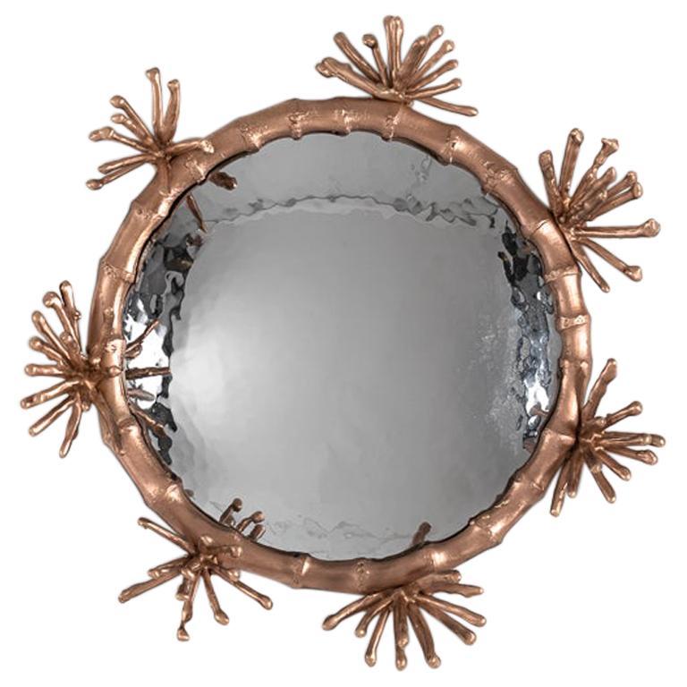 """Michel Salerno, """"Etoiles,"""" Handmade Bronze Mirror, France, 2020"""