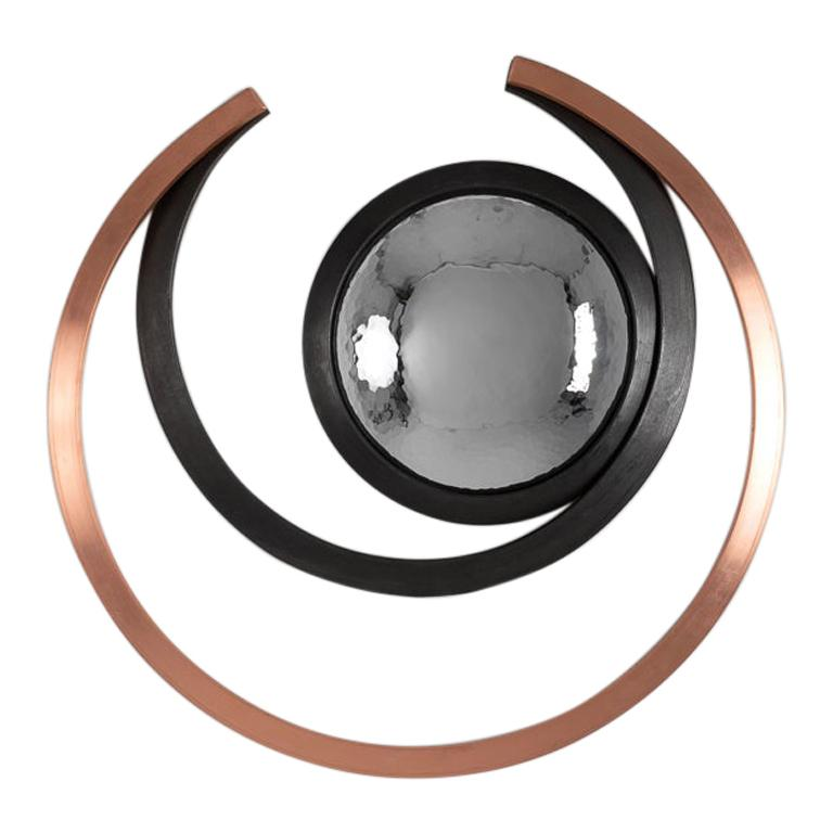"""Michel Salerno, """"Geomatrie,"""" Handmade Steel and Copper Mirror, France, 2020 For Sale"""