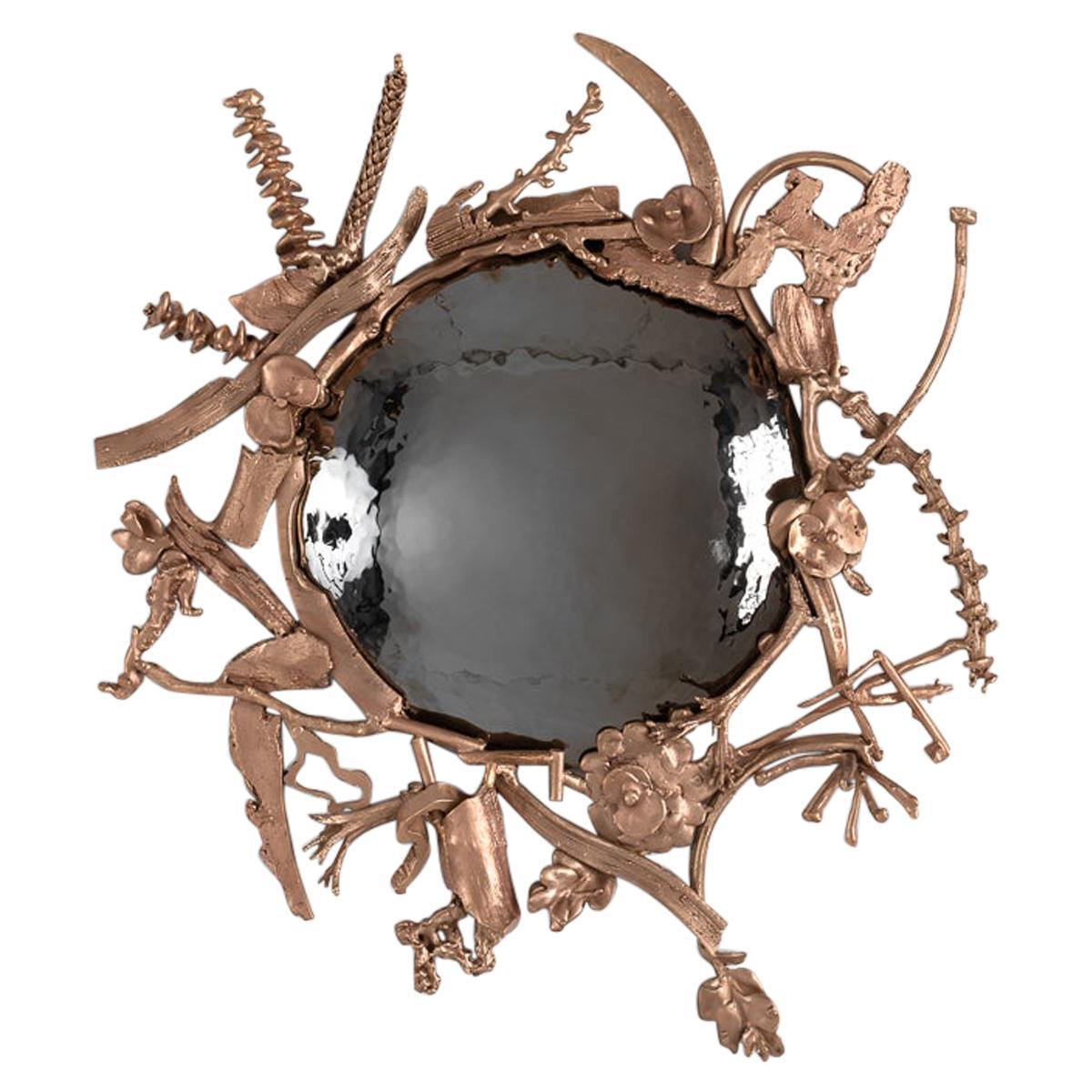 """Michel Salerno, """"Memoire,"""" Handmade Bronze Mirror, France, 2020"""